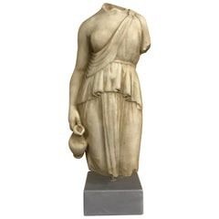 19th Century Torso of Woman in Marble