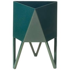 Large Deca Planter, Sunbeam Bluegreen Powder Coated Steel, Force/Collide, 2018