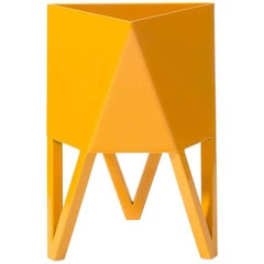 Deca Planter in Daffodil Yellow Steel, Large, by Force/Collide