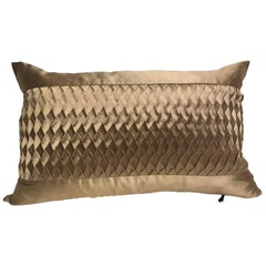 Silk Cushion Pleated Horizontal Stripe Detail Colour Platinum