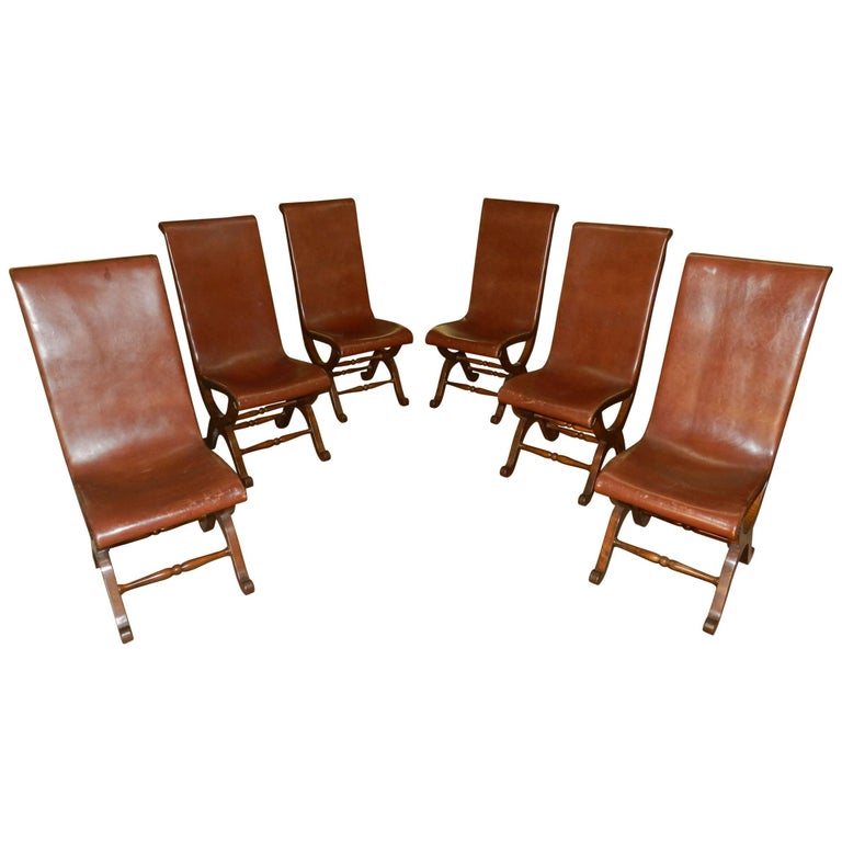 Set Of Six Spanish Leather Chairs At 1stdibs