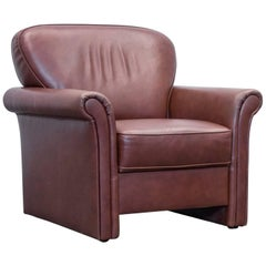 Gepade Akad´or Designer Armchair Leather Brown One-Seat Couch Modern