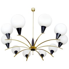 Large MidCentury 10- Lights  Glass  Globe Brass Sputnik Chandelier,  1960s