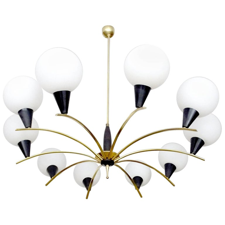 Large MidCentury Glass Brass Sputnik Chandelier Pendant, Stilnovo Gio Ponti Era  For Sale