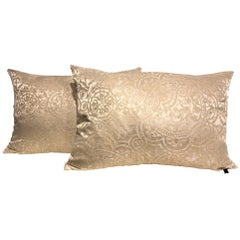 Silk Cushions Ornamental Pattern Colour Ivory and Light Gold