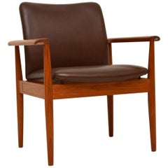 1960s Danish Vintage Teak and Leather Diplomat Armchair by Finn Juhl