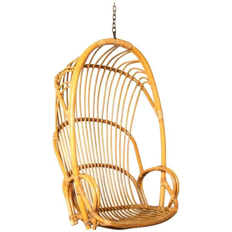 Rattan Hanging Chair. Dramatic Bamboo Hood Chair