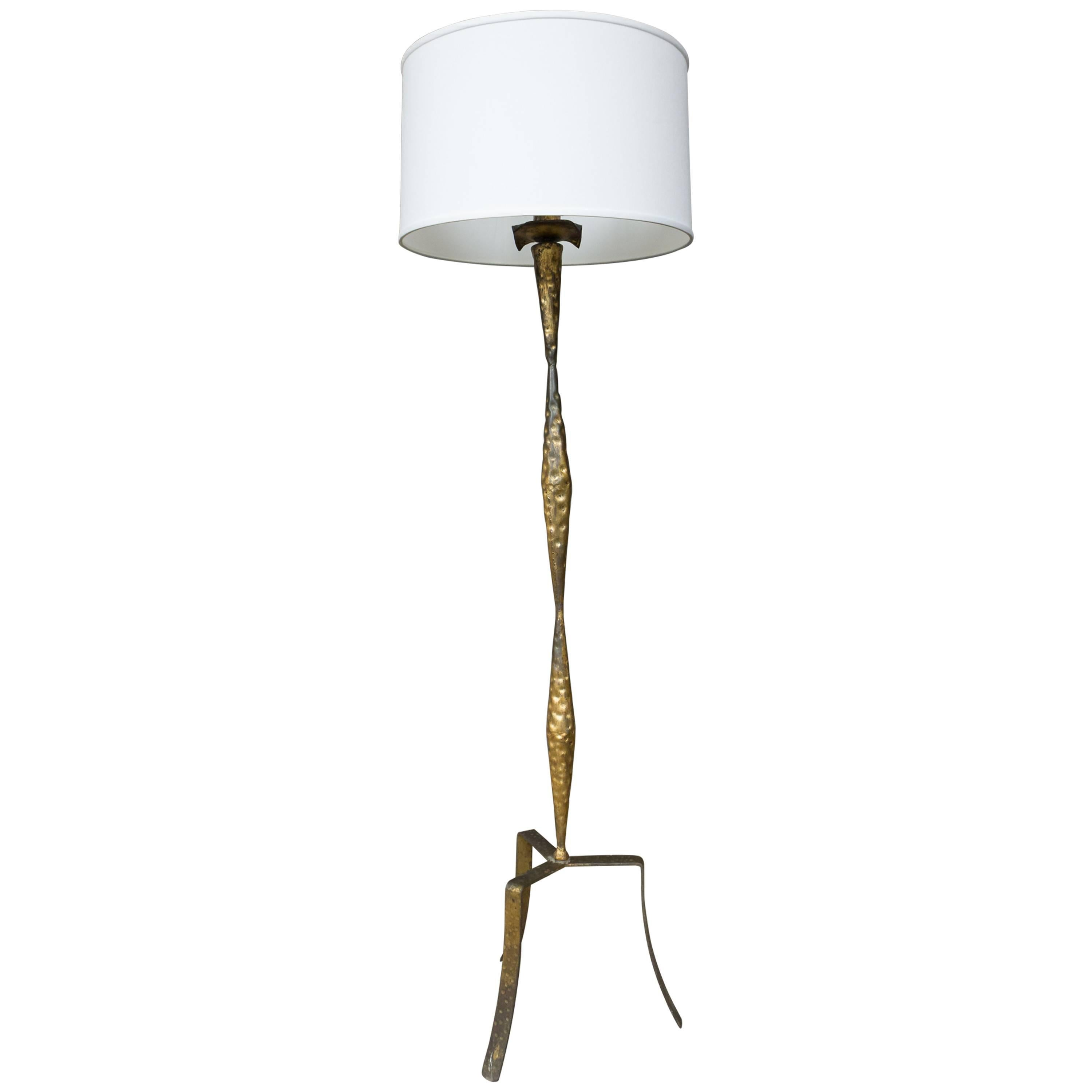 Spanish Gilt Iron Floor Lamp with Tripod Base