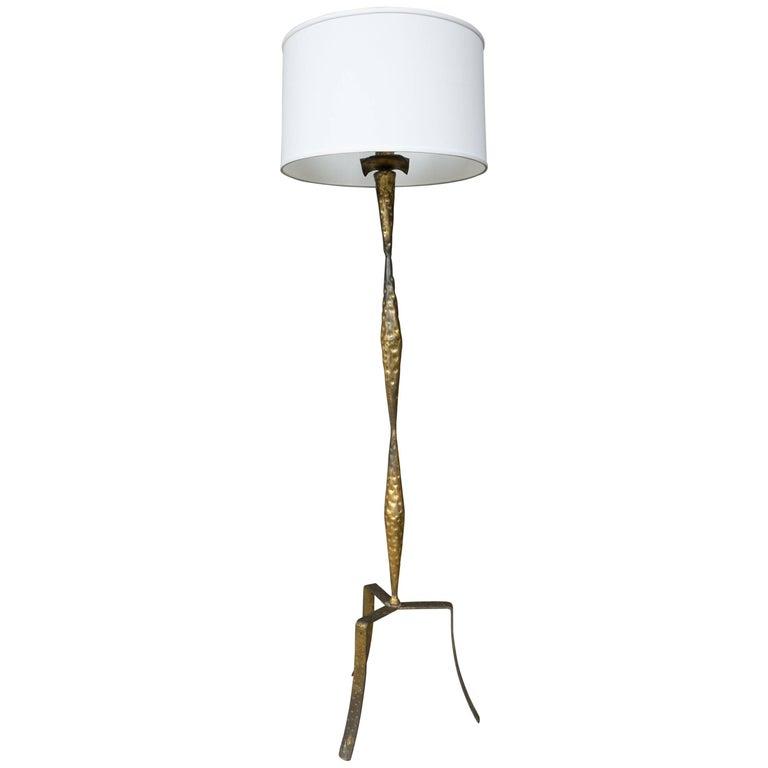 Spanish Gilt Iron Floor Lamp with Tripod Base
