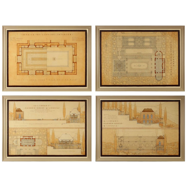 Set of four architectural drawings for sale at 1stdibs for Cheap architectural drawings