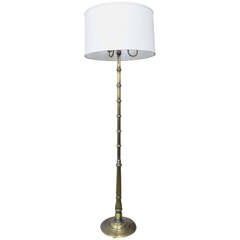 French Br Floor Lamp With Three Candelabra Arms For