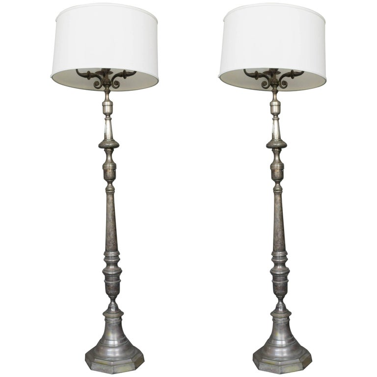 Pair of Brass and Bronze Floor Lamps with Three Candelabra Arms