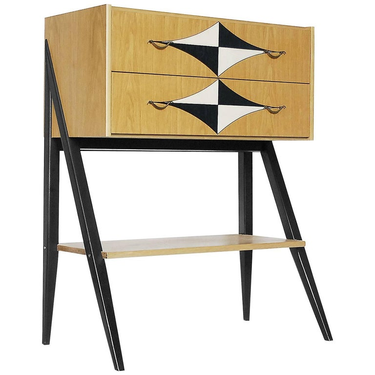 Vintage Scandinavian Tall Cabinet with V-Legs and Pattern, 1970s