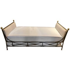 Maison Jansen Neoclassical Steel and Brass Daybed