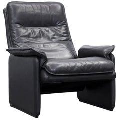 de Sede Designer Armchair Leather Aubergine Black One-Seat Couch Modern