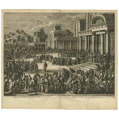 Antique Bible Print the Queen of Sheba Visits Solomon by J. Luyken, 1743