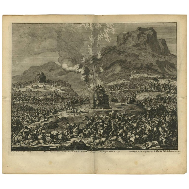 Antique Bible Print Elijah's Burnt Offering by J. Luyken, 1743