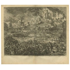 Antique Bible Print Destruction of Jerusalem and the Temple by J. Luyken, 1743