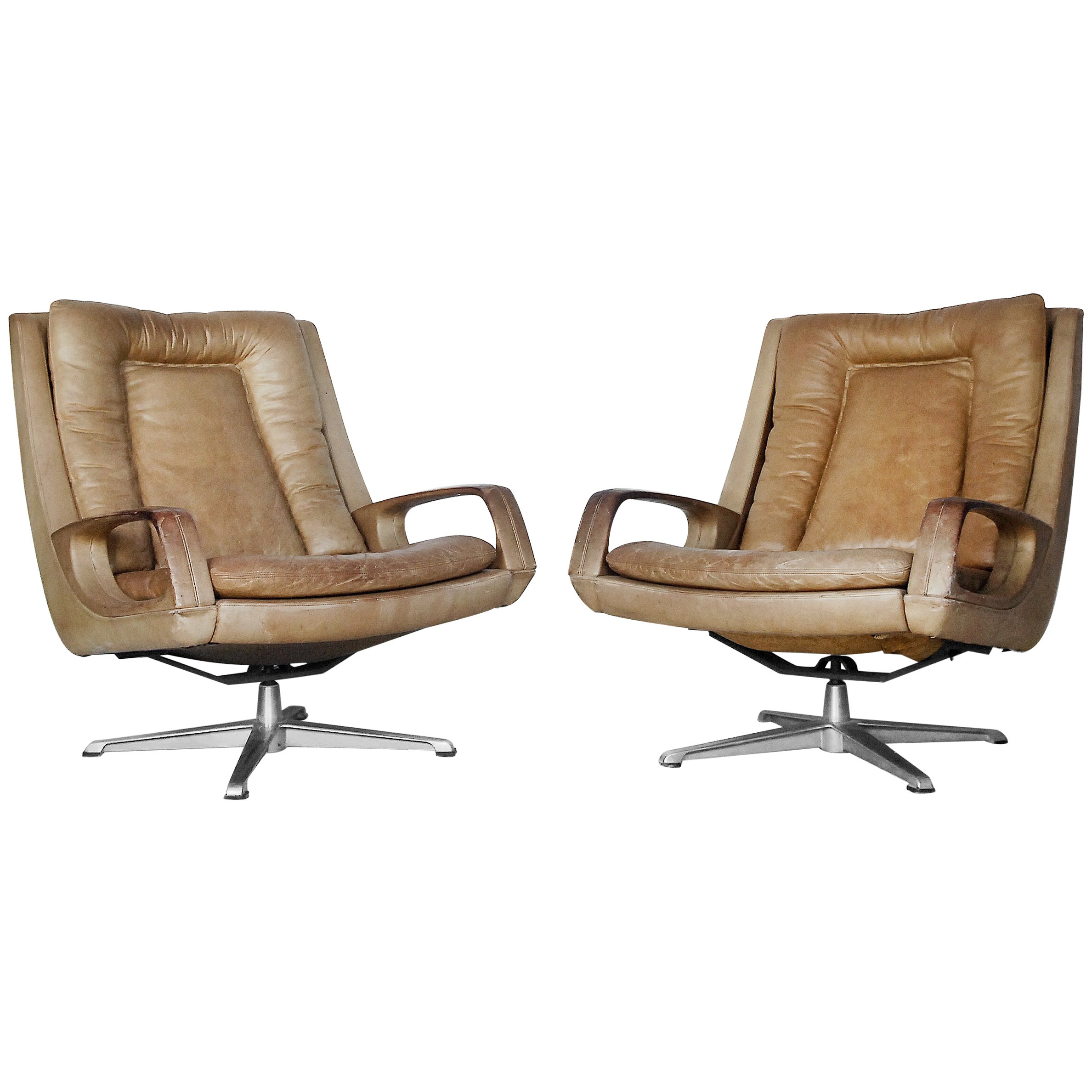 Swivel Leather Chairs By Carl Straub 1950s Set Of Two For At 1stdibs