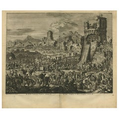Antique Bible Print Rebuilding Jerusalem by J. Luyken, 1743