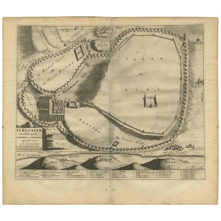 Antique Bible Plan of Jerusalem by Covens & Mortier, 1743