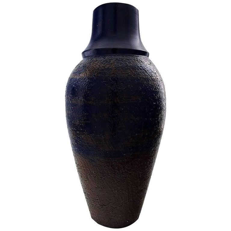 Upsala Ekeby Large Floor Vase in Ceramic, Hand-Painted, Beautiful Blue Glaze