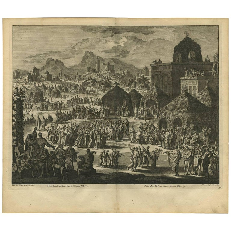 Antique Bible Print the Festival of Shelters by J. Luyken, 1743