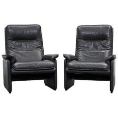 De Sede Designer Armchair Leather Aubergine Black One Seat Couch Modern