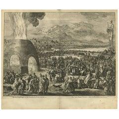 Antique Bible Print the Fiery Furnace by J. Luyken, 1743
