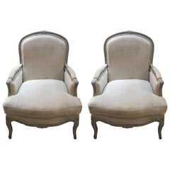 Pair of Greyish White Painted Louis XV Bergere Chairs
