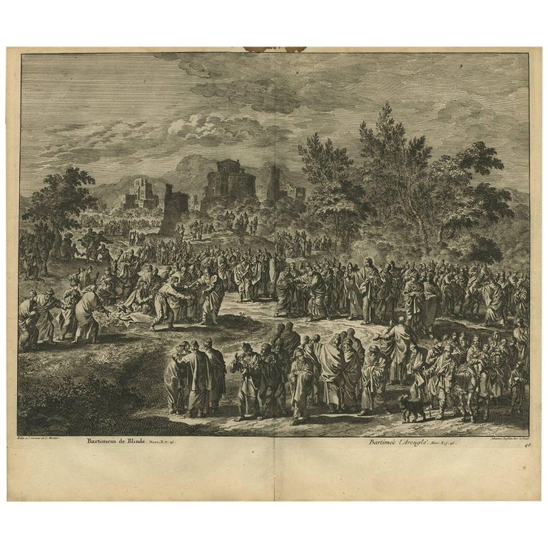 Antique Bible Print Bartimaeus the Blind by J. Luyken, 1743