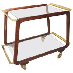 Mid Century Modern Walnut and Brass Bar Cart Vienna Austria, 1960s