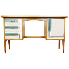 Midcentury Danish Teak Desk with Modern Pattern, 1960s