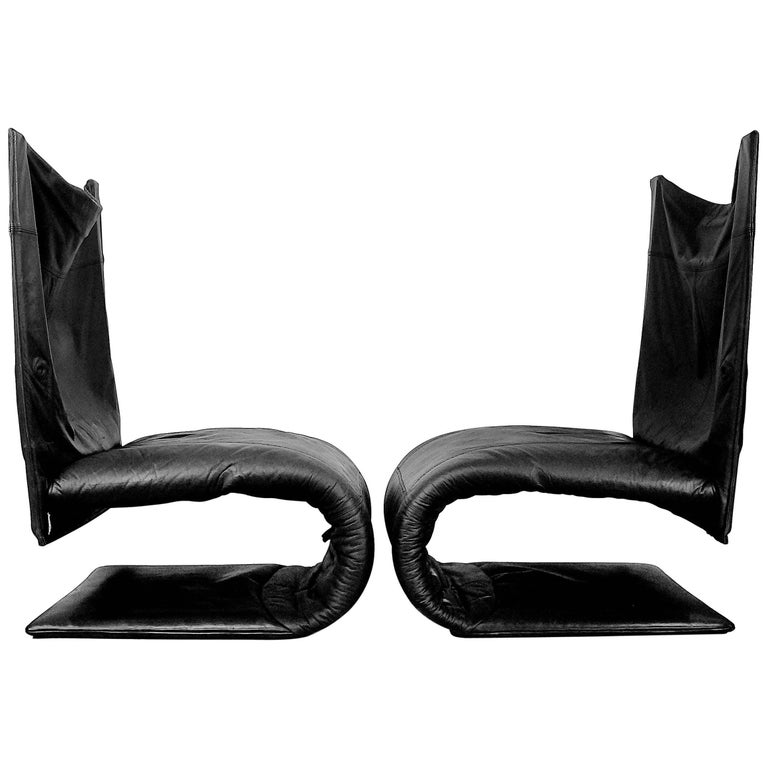 French Leather Zen Chair by Claude Brisson for Ligne Roset, 1980s, Set of Two