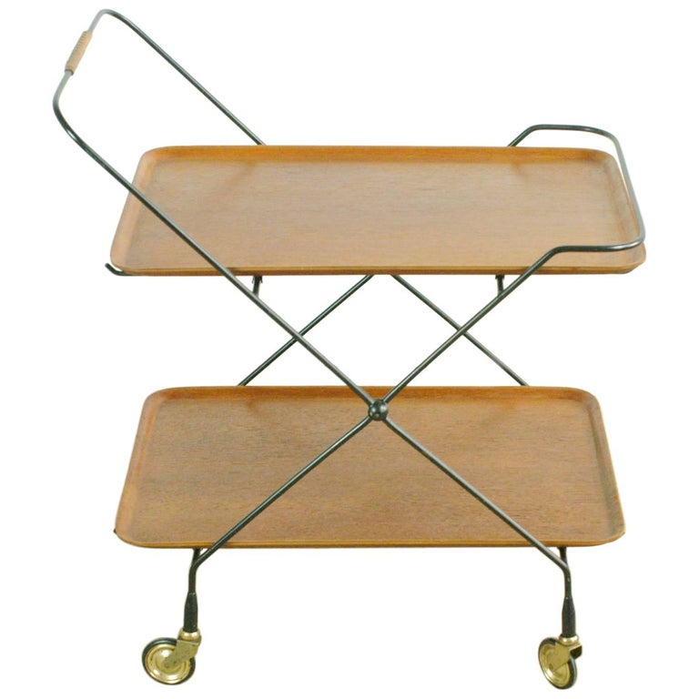 Scandinavian Modern Teak Folding Serving Table or Bar Cart
