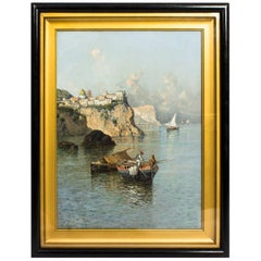 Antique Oil Painting Giuseppe Carelli Fishing Boats off the Coast 19th Century