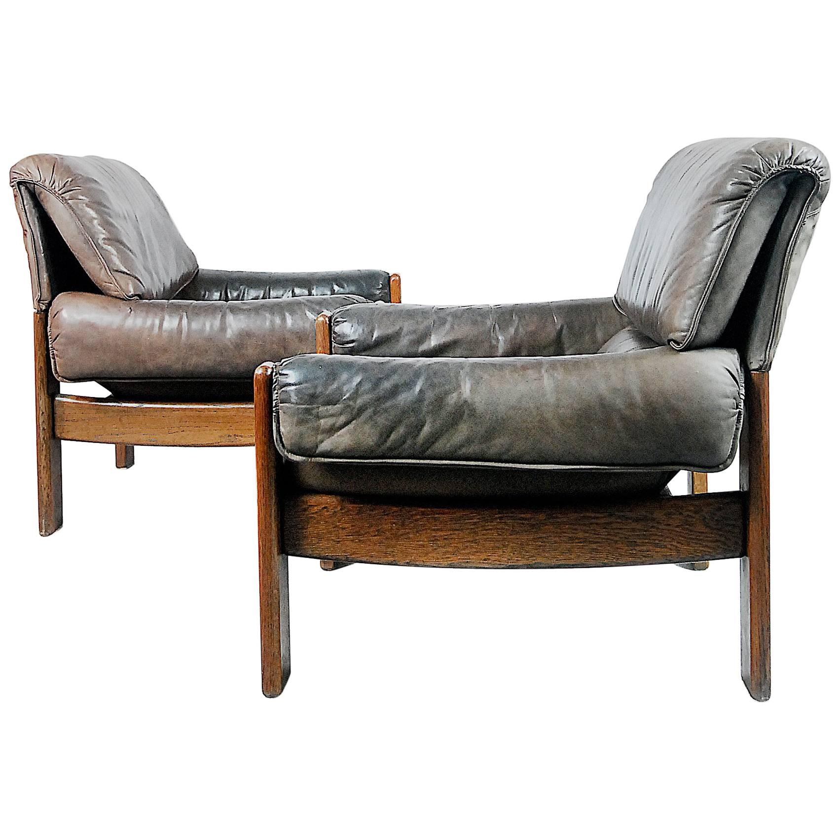 Danish Modern Leather Lounge Chairs, 1960s, Set Of Two