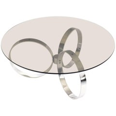 Chromed Coffee Table with Three Rings, 1970s