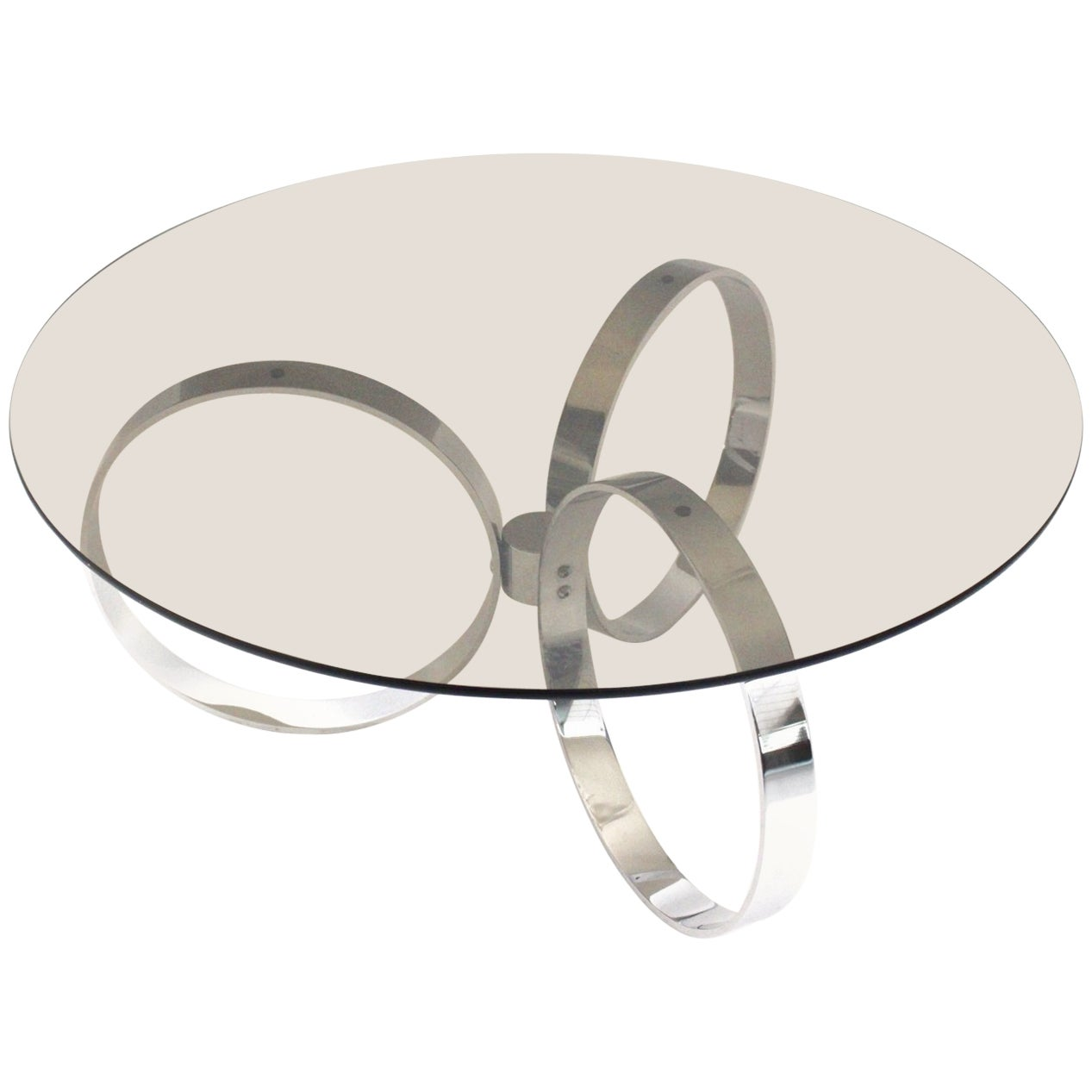 Modernist Chromed Vintage Coffee Table with Three Rings, 1970s