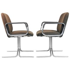 Brown Aluminum Chairs from Mauser, 1970s, Set of Two