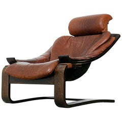 Vintage Swedish Leather Kroken Chair by Ake Fribytter for Nelo, 1974