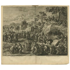Antique Bible Print the Resurrection of Lazarus by J. Luyken, 1743