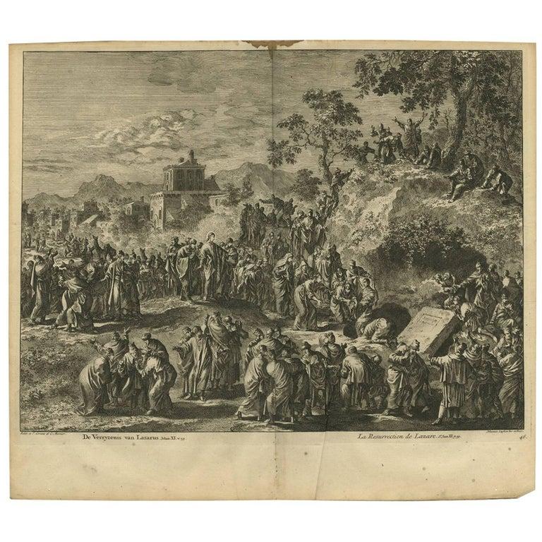 Antique Bible Print the Resurrection of Lazarus by J. Luyken, 1743