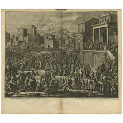 Antique Bible Print of Pilate and Jesus by J. Luyken, 1743