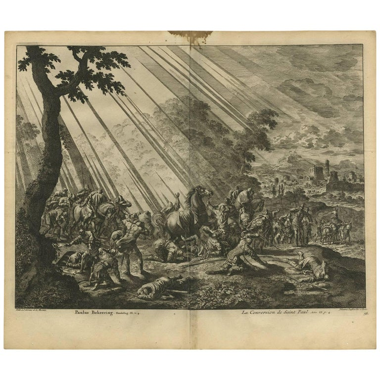 Antique Bible Print Conversion of Paul by J. Luyken, 1743 For Sale