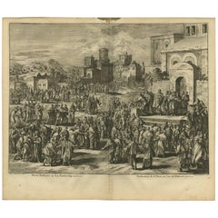 Antique Bible Print Peter's Sermon at Pentecost by J. Luyken, 1743
