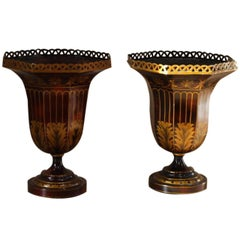Pair of 1960s Italian Japanned Tole Urns