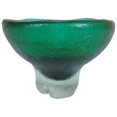 1936 Carlo Scarpa for Venini & C. Murano Glass Green Vase Corroded Series
