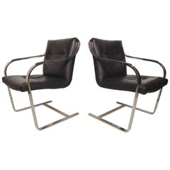Sleek Midcentury Leather Chrome Chairs
