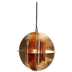 Copper Gold Pendant Lamp with Eight Lights, 1970s